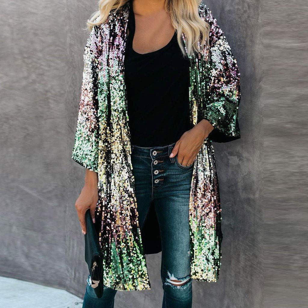XILALU Women Plus Size Coat Long Open Front Cardigan Lightweight Sequins Metallic Jacket