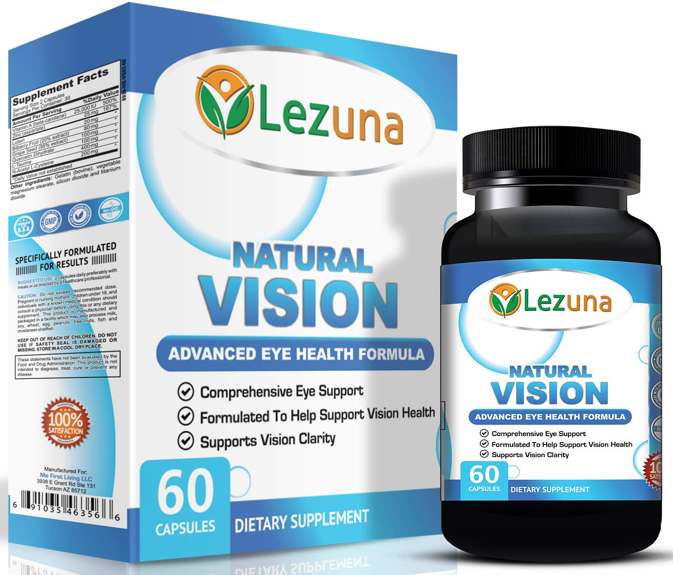 Lutein Eye Health Vision Supplement - Lutein, Bilberry Extract, Vitamin A, Zinc and More. Supplements for Healthy Eyes & Retina - 60 Capsules