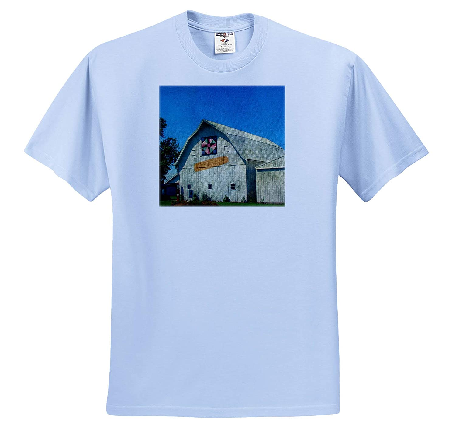 T-Shirts Barn with A Quilt and an Ear of Corn 3dRose Cassie Peters Barns