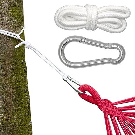 Come Fissare Un Amaca.Kit Per Appendere Amache E Altalene Kit Completo Incl Moschettoni E Corde Peso Massimo Supportato 160 Kg
