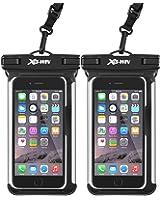 "Waterproof Phone Case, XG-WIN Universal IPX8 Underwater Phone Pouch Swim Waterproof Bag for iPhone X/8/8plus/7/7plus/6s/6/6s plus, Samsung Galaxy s8/s7,Google Pixel up to 6.0"" (2 pack Black)"
