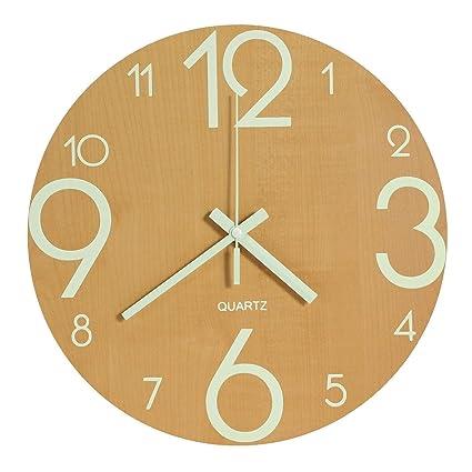 genbaly luminous wall clock 12 inch wooden silent non ticking kitchen wall clocks with - Kitchen Wall Clocks