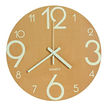 Genbaly Luminous Wall Clock, 12 inch Wooden Silent Non-Ticking Kitchen Wall  Clocks with Night Lights for Indoor/Outdoor Living Room Bedroom Decor ...