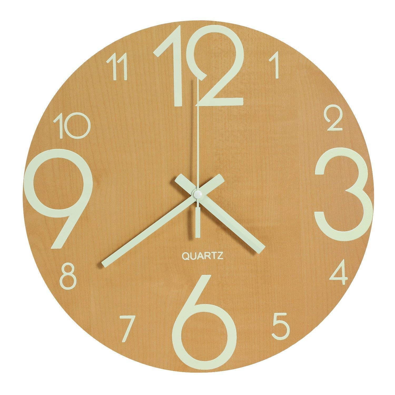 Genbaly Luminous Wall Clock, 12 inch Wooden Silent Non-Ticking Kitchen Wall Clocks with Night Lights for Indoor/Outdoor Living Room Bedroom Decor Battery Operated (Wood Color)