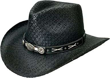Cowboy Hat Straw Cowboy Hat Hat with hatband Black//White Flamed