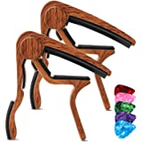 Guitar Capo for Acoustic Guitar (2 Pack), Rosewood Color Acoustic Capo with 5 Picks for Nylon Steel String without Fret Buzz,