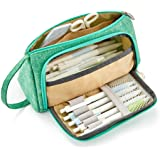 EASTHILL Big Capacity Pencil Pen Case Student Office College Middle School High School Large Storage Green