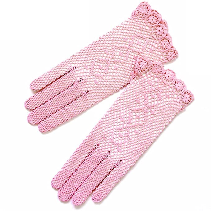 Vintage Style Gloves ZaZa Bridal Lovely Cotton Crochet Gloves with a Delicated Floral Detail $15.99 AT vintagedancer.com