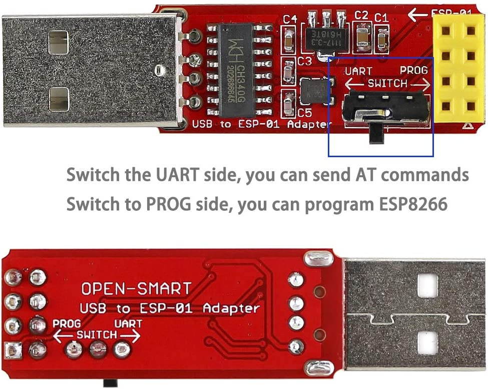 2 adaptadores USB a ESP-01, módulo WiFi inalámbrico ESP8266 Wi-Fi CH340G, UART PORG, 4.5-5.5 V, 115200 velocidad de transmisión de baudios: Amazon.es: Electrónica