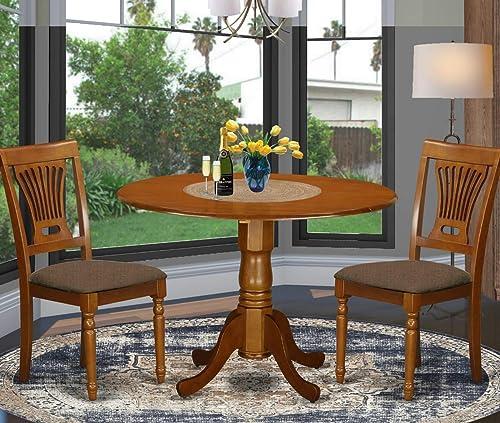 Deal of the week: East West Furniture DLPL3-SBR-C 3-Piece dining room table set Saddle Brown finish
