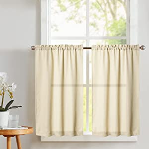 Vangao Kitchen Tier Curtains 24 inch Rod Pocket Half Window Curtain Casual Weave Textured Cafe Curtain Semi Sheer Short Curtain for Bathroom Bedroom 2 Panels W68xL24 Set Beige