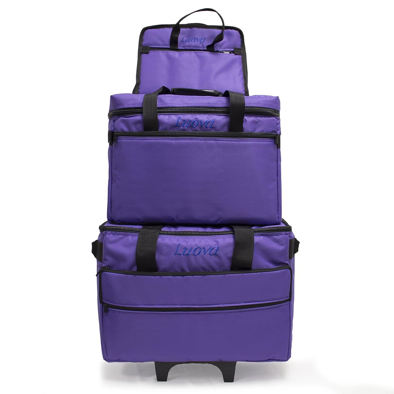 Luova 19 3 Piece Rolling Sewing Machine Trolley Set in Purple L19C-PR