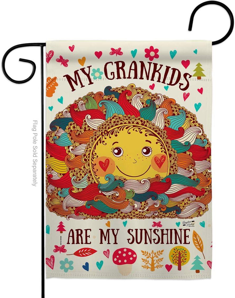 Grandkids Are My Sunshine Garden Flag Family Grandma Grandpa Grandchildren Spoiled Parent Sibling Relatives Grandparent Small Decorative Gift Yard House Banner Double-Sided Made In USA 13 X 18.5