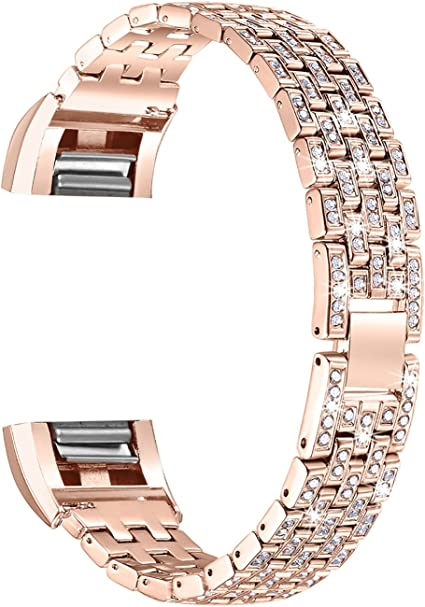 ROSE GOLD RHINESTONE Small Steel Wristband Band Bracelet For FITBIT CHARGE 2