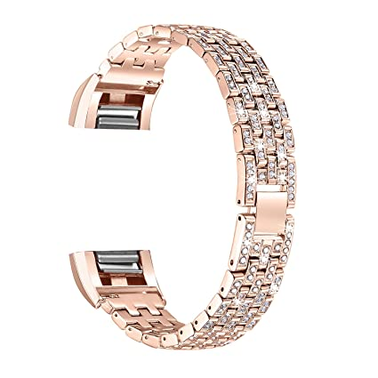 bayite Metal Bands Compatible Fitbit Charge 2, Replacement Accessories  Bracelet Rhinestone Bling, Style C
