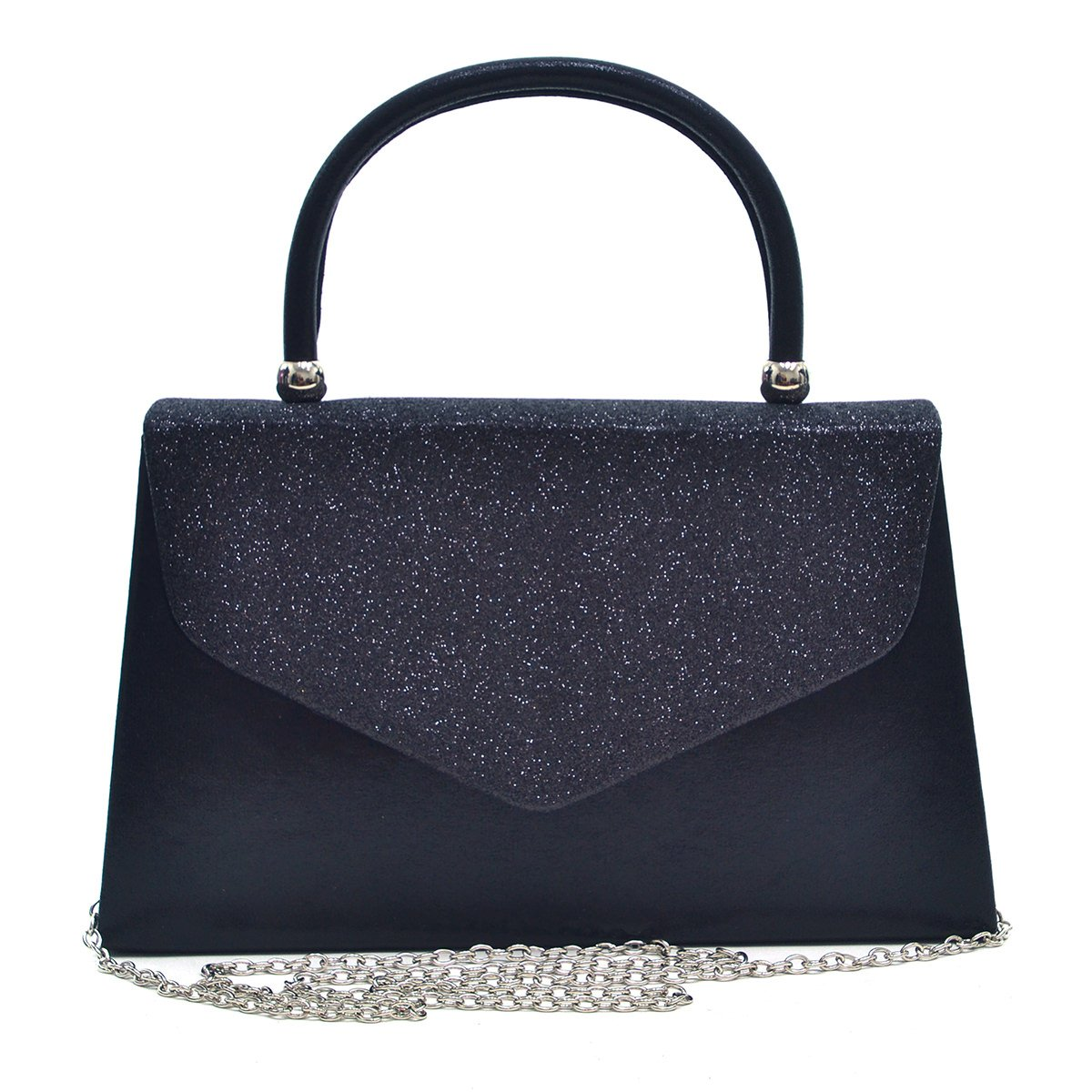 Envelope Clutch Handbag Evening Bag Top Handle Purse Glitter Sequin Prom Black