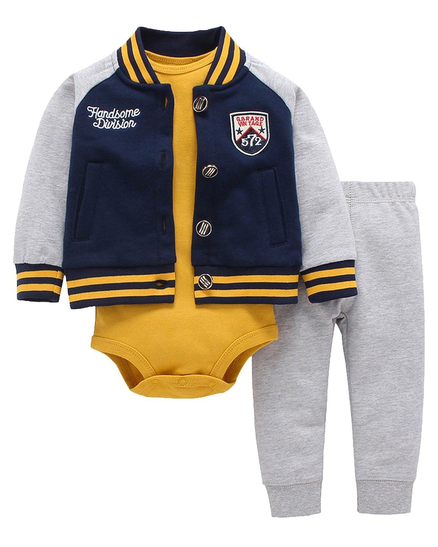 Kidsform Conjuntos Ninos Chaquetas Rompers Mono Bodies Jumpsuit Algodón Pantalones 3 Piez KIDSFORMyonnciies361