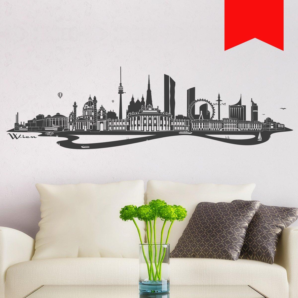 WANDKINGS Wandtattoo - Skyline Wien (mit Fluss) - - - 300 x 86 cm - Mittelgrau - Wähle aus 6 Größen & 35 Farben B078SGKY6F Wandtattoos & Wandbilder 7c18dd
