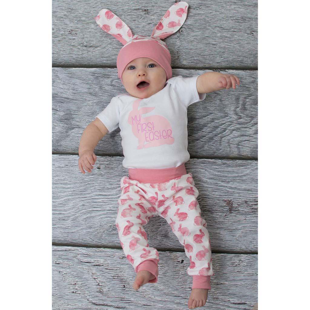 Pantalones Sombrero de Conejito para 0 3 a 18 Meses BBSMILN Disfraz Easter Bebe Ni/ño Ni/ña Reci/én Nacido Ropa de Conjunto My First Easter 3D Mameluco