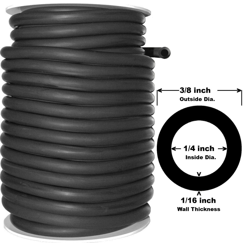 50 Feet Black Rubber Latex Tubing 3/8''OD 1/4''ID (804B)