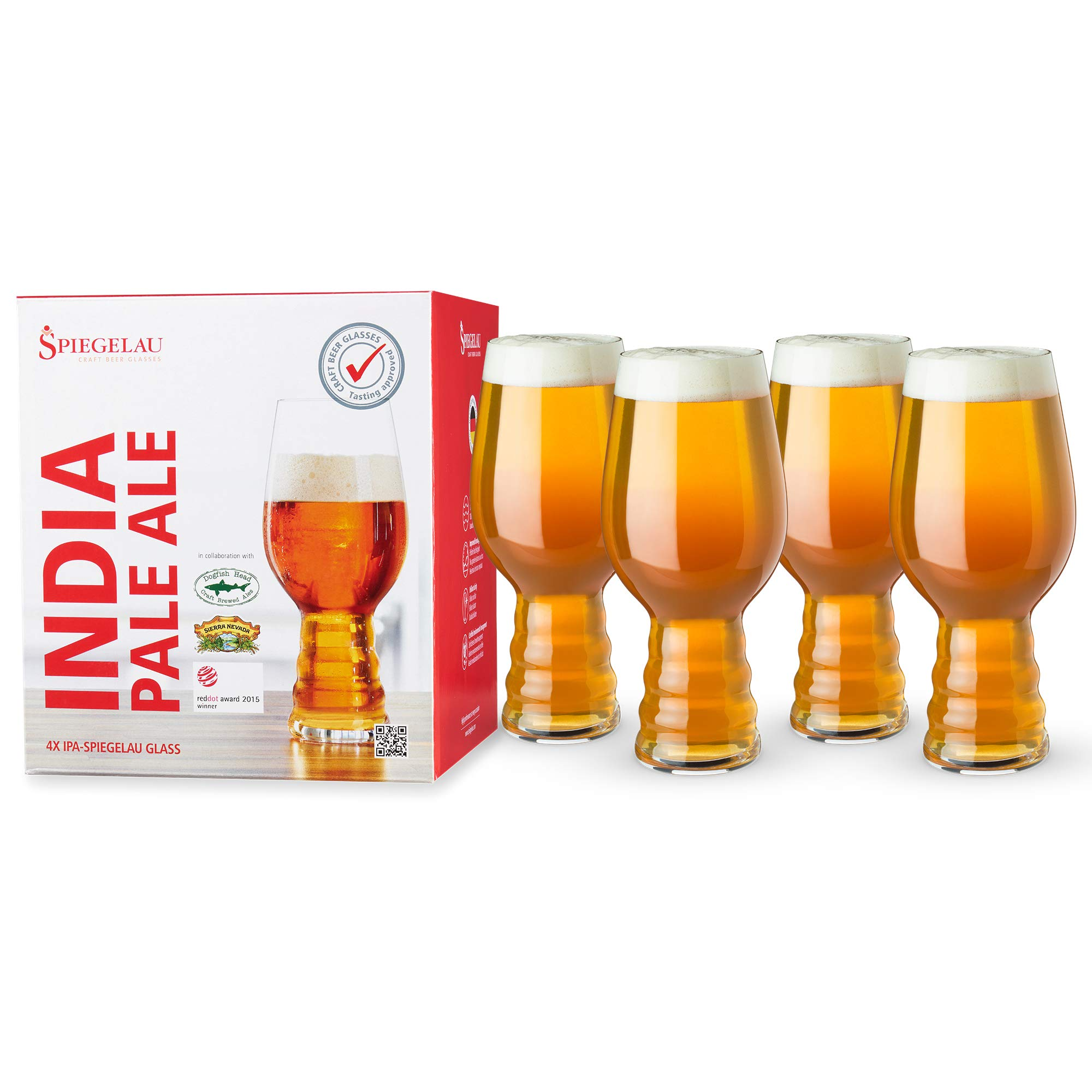 Spiegelau Craft IPA, Set of 4 European-Made Lead-Free Crystal, Modern, Dishwasher Safe, Professional Quality Beer Pint Glass Gift Set, 19.1 oz