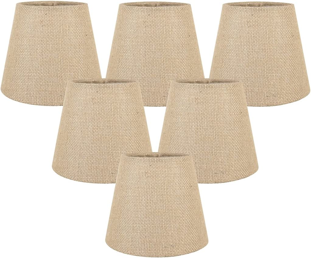 Meriville Set of 6 Natural Burlap Clip On Chandelier Lamp Shades, 4-inch by 6-inch by 5-inch