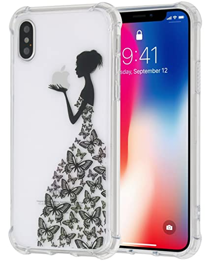 finest selection 532fd 023e5 iPhoneX Case , JNSA Apple Logo in butterfly Skirt Girl hand Creative  Imaginative Design with Protective Shockproof PC Back and TPU Bumper Case  for ...