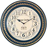 Vintage Clock Handcrafted Brass Inlay Wooden Clock / With Hand-Hammered Brass Work / Non-Ticking (Silent Clock) / Comes With Gift Packing