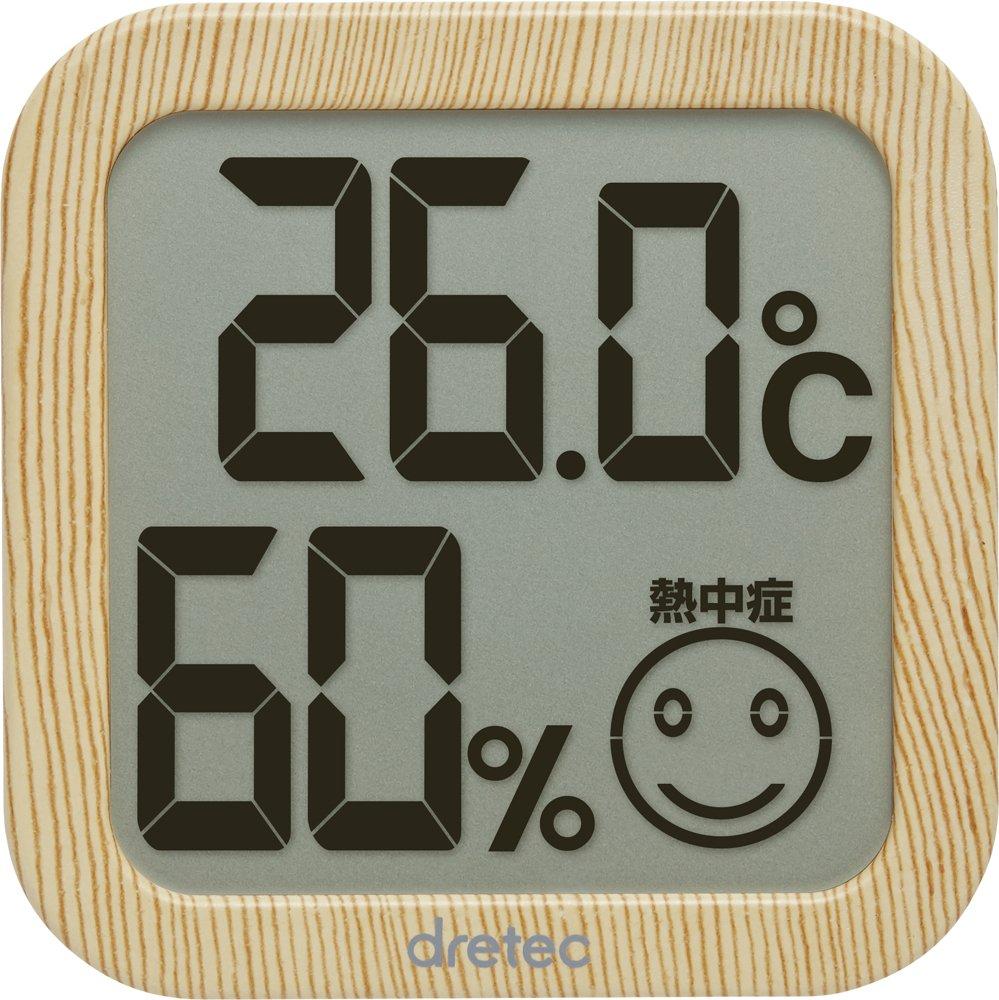ドリテックデジタル温湿度計ナチュラルウッドO-271NW