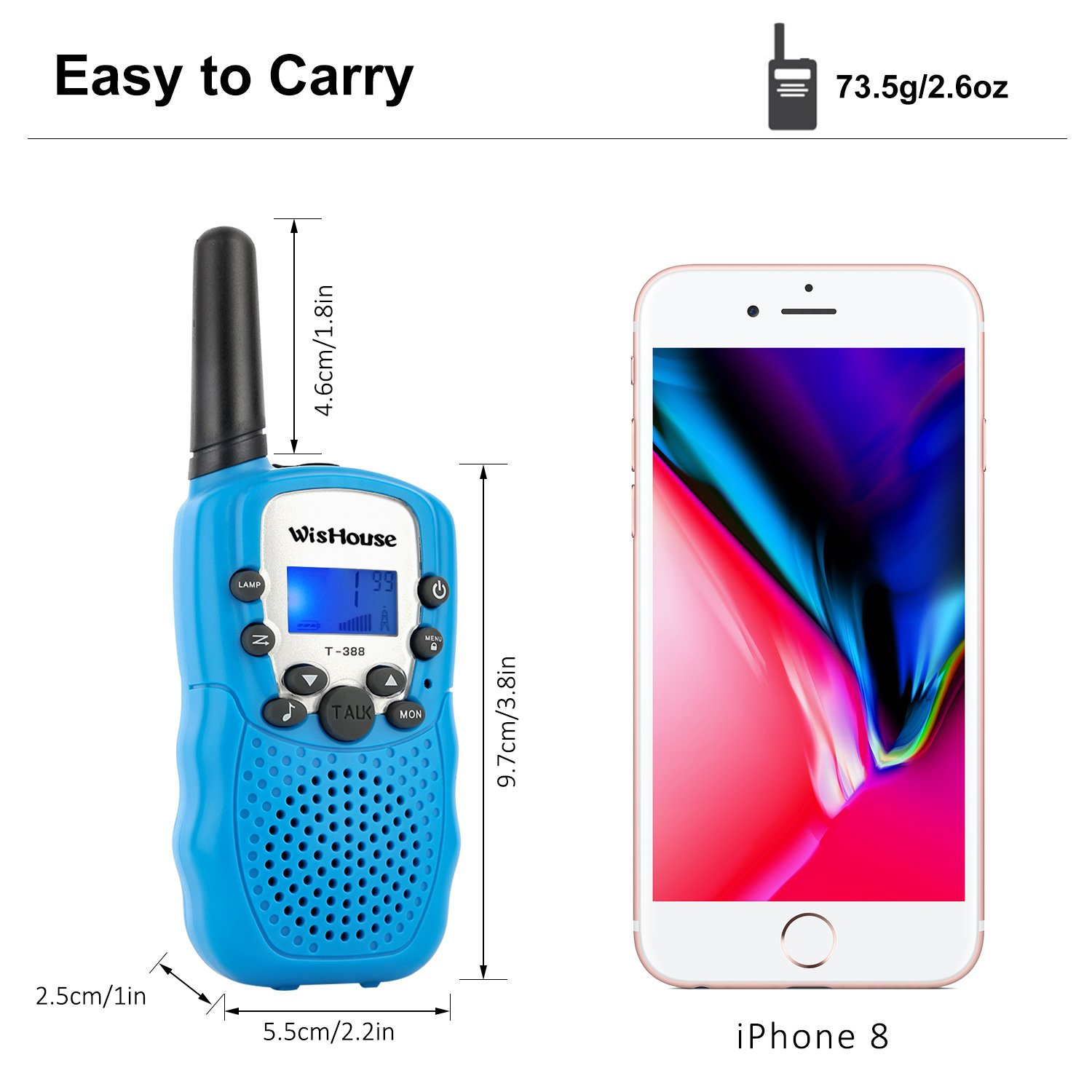 WisHouse Walkie Talkies for Kids,Fashion Toys for Boys and Girls Best Handheld Two Way Radio with Flashlight for 4 Year Old and up to Camping Hiking Riding and Cruise Ship(T388 Blue 4 Pack) by Wishouse (Image #5)