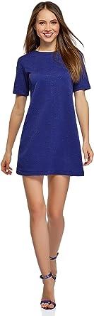 oodji Collection Femme Robe Coupe Droite en Tissu Textur/é
