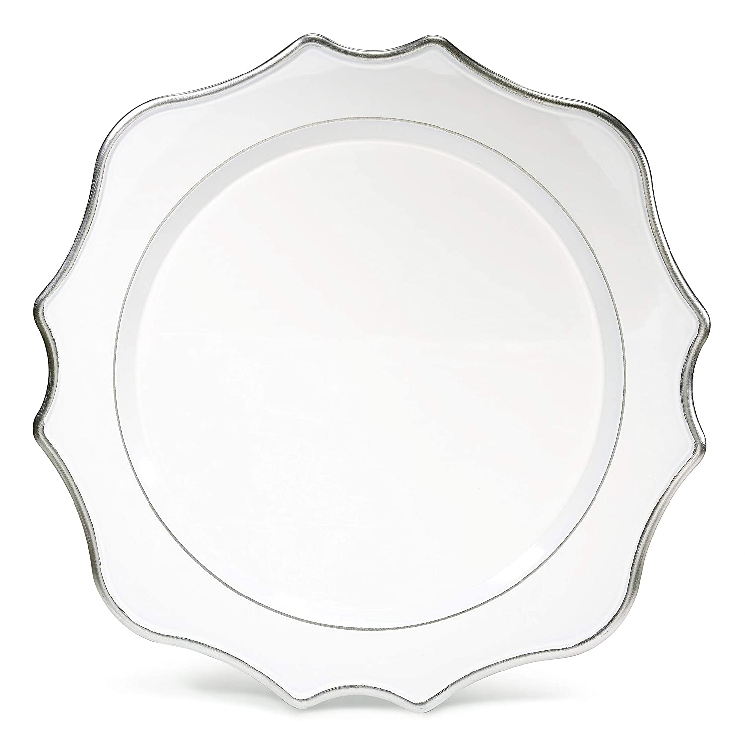 OCCASIONS 10 pcs Round 13'' Round Acrylic Plastic Wedding Chargers, Dinner Party Decoration Charger Plates (Scalloped White and silver) 71tdlcZBrnL
