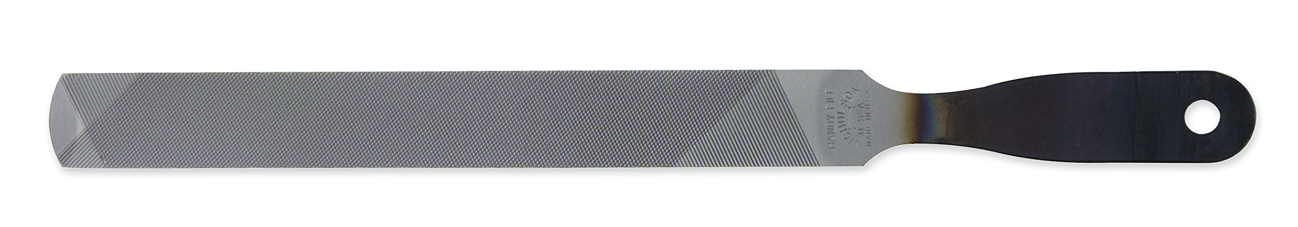 Nicholson Hand File with Handle (Boxed), American Pattern, Single/Double Cut, Rectangular, 8'' Length
