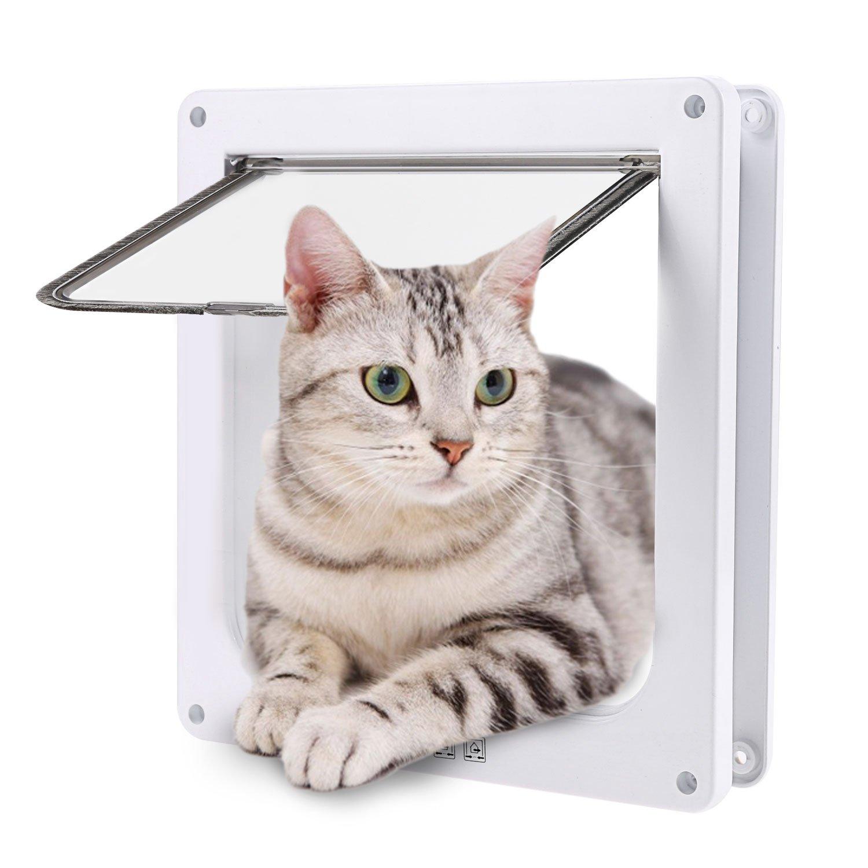Homdox Plastic 4 Way Locking Lockable Pet Cat Door Small Cat Flap White (7.7 x 7.4 x 2.0inch)