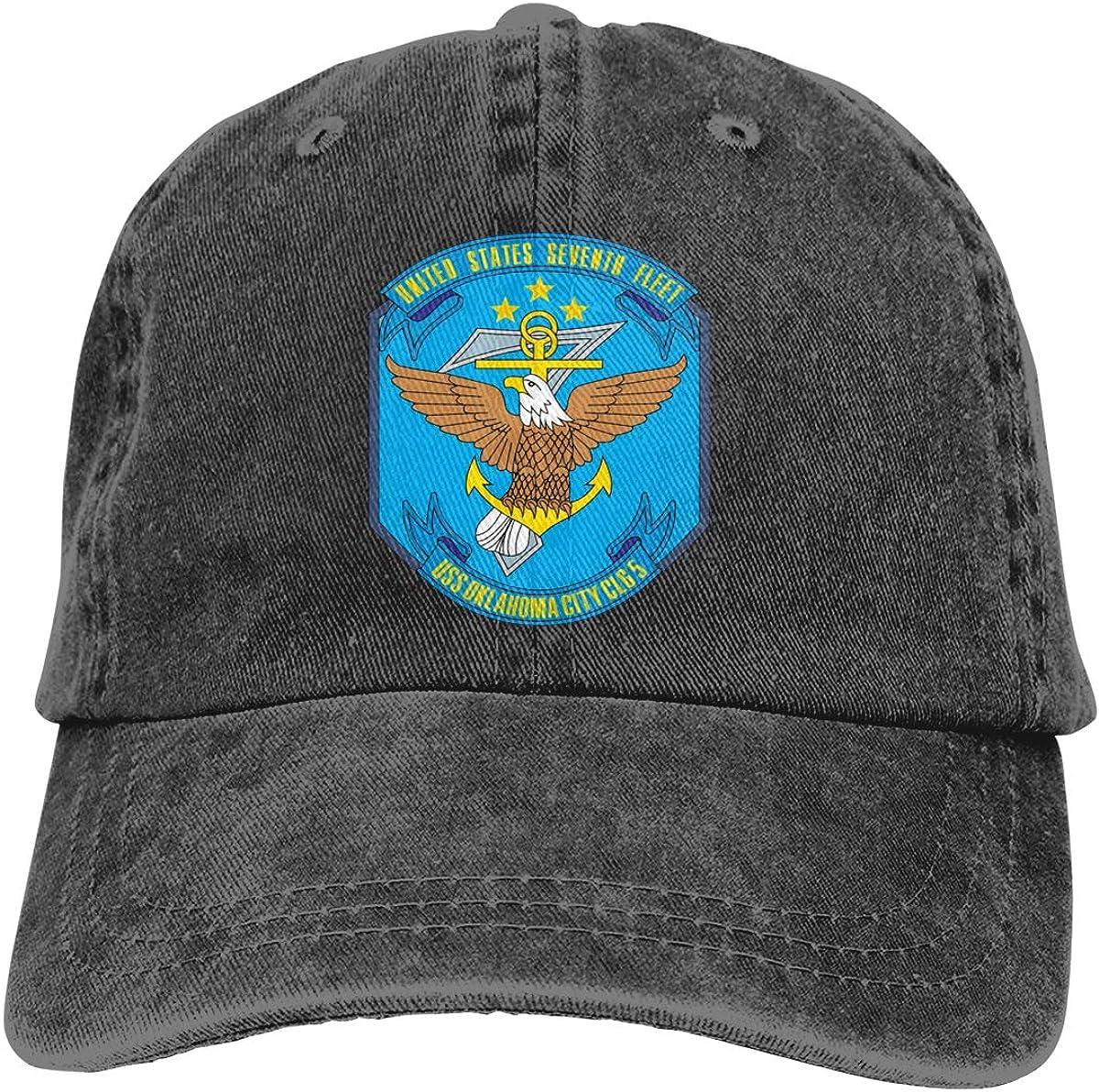 HUZEMINniu 7th Seventh Fleet Navy USS Oklahoma City CLG-5 Unisex Adult Baseball Hats Cowboy Hats Denim Hats Dad Hat
