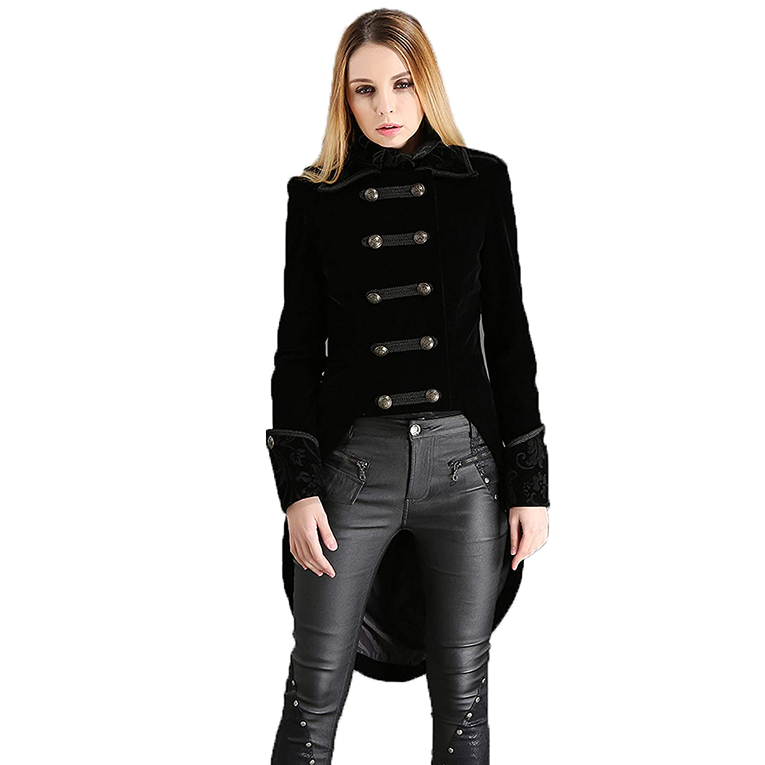 Lady Admiral Black Velvet Double-Breasted Swallowtail Costume Coat - DeluxeAdultCostumes.com