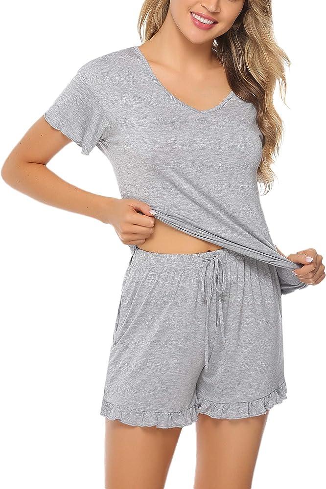 Aibrou Pijama de Verano Mujer Manga Cortas Pijamas Corto Mujer Verano De Algodon 2 Piezas Ropa de Dormir de Salón: Amazon.es: Ropa y accesorios
