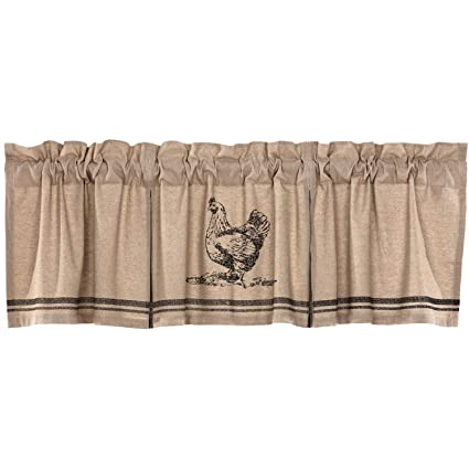 VHC Brands Farmhouse Kitchen Curtains Sawyer Mill Chicken Rod Pocket Cotton  Hanging Loops Stenciled Chambray Nature Print 20x72 Valance Charcoal Khaki  ...
