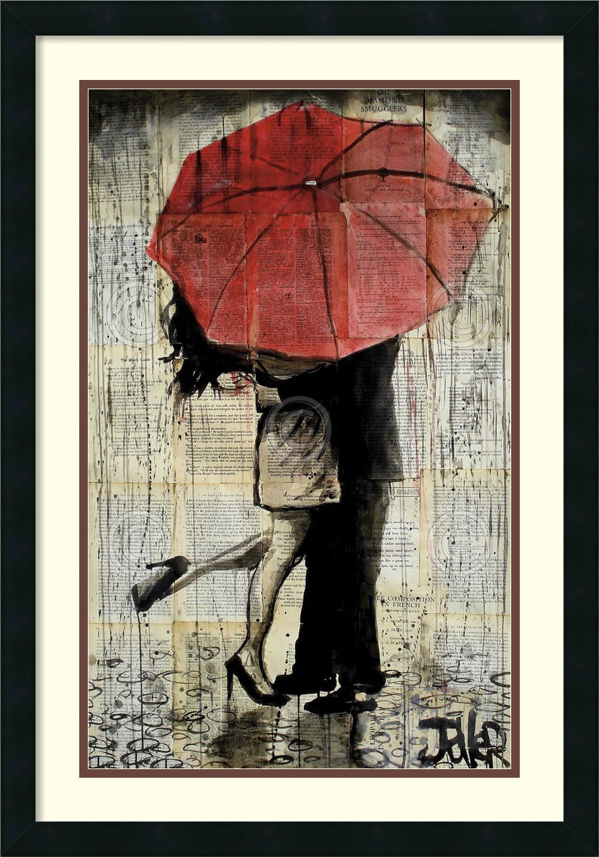Framed Art Print, 'The Red Umbrella' by Loui Jover: Outer Size 21 x 30'' by Amanti Art