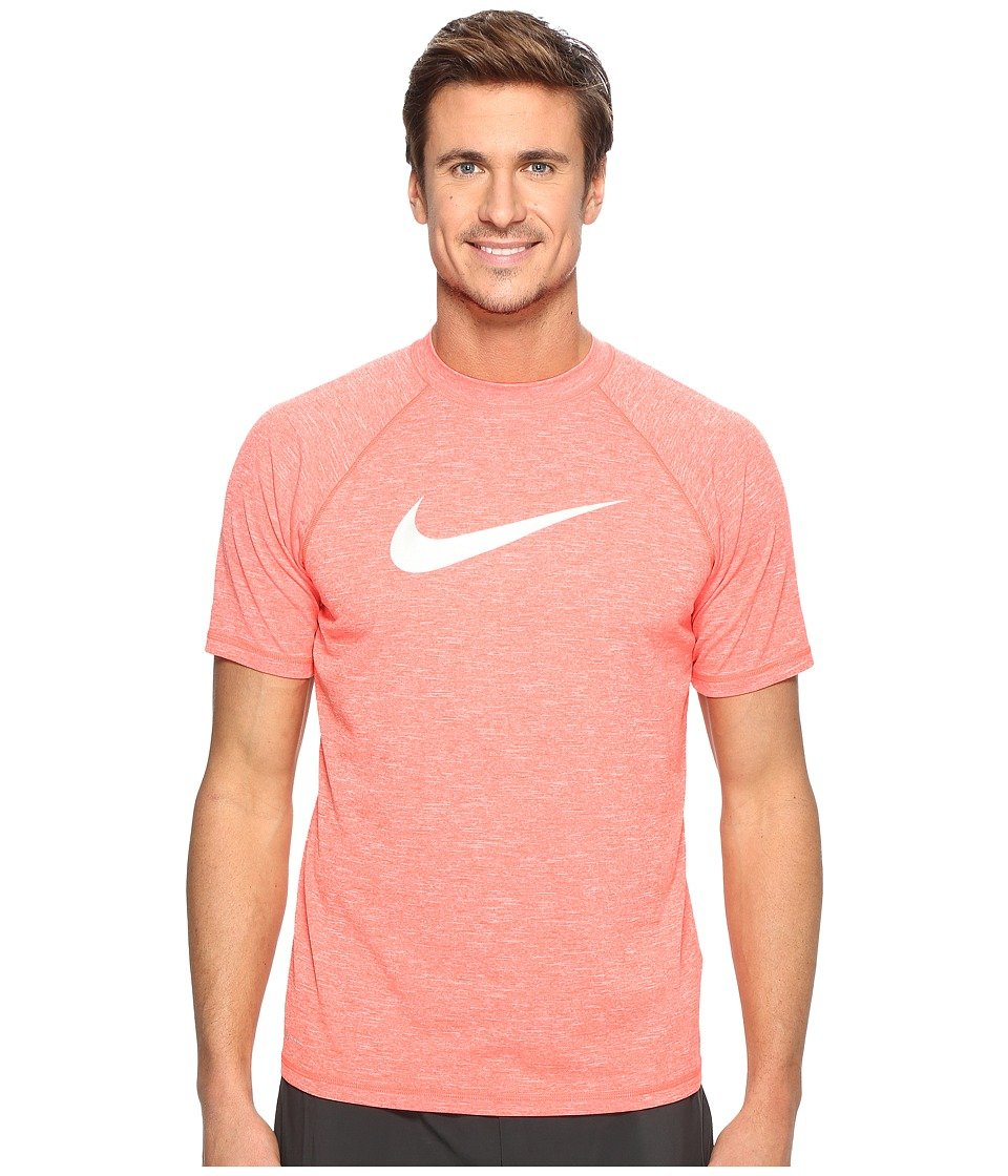 Nike Men's Solid Heather Short Sleeve Rash Guard S Bright Crimson  -