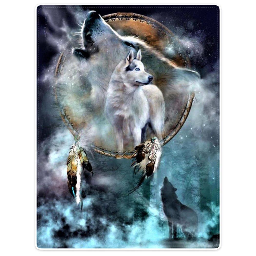 HommomH 60 x 80 Blanket Comfort Cozy Soft Warm Throw One Sides Bidding Dreamcatcher Cool Wolf Howling Moon Animal HommomHship 1712LZFCSut190