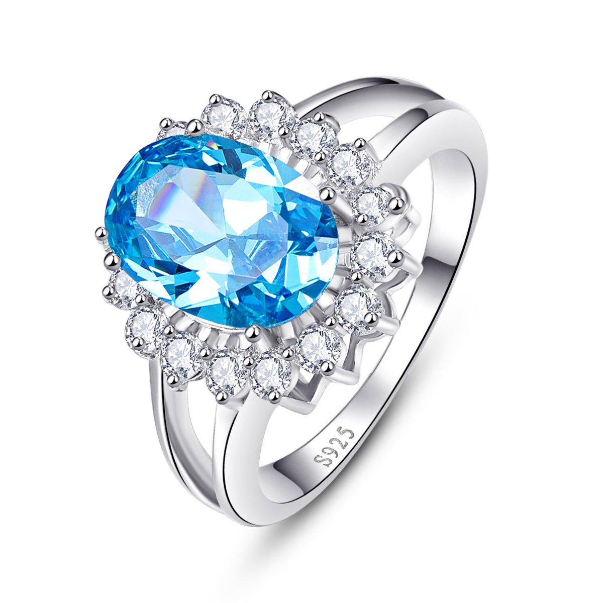 Bonlavie Bague de fiançailles en argent sterling 925 avec topaze bleu suisse 4,95 ct Kate Middleton Princesse Diana