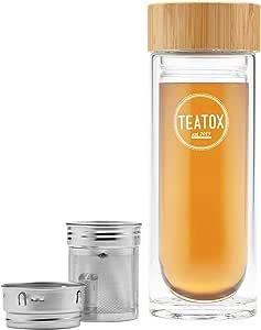 TEATOX Thermo-Go 330ml termo de vidrio (Bambú)