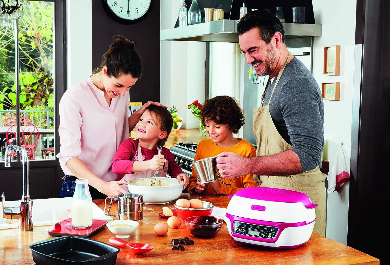 TEFAL - Robot para hornear y repostería, para muffins, con 3 moldes, batidor y espátula incluidos, 5 programas Rosa - 3 moldes incluidos blanco y rosa: Amazon.es: Hogar