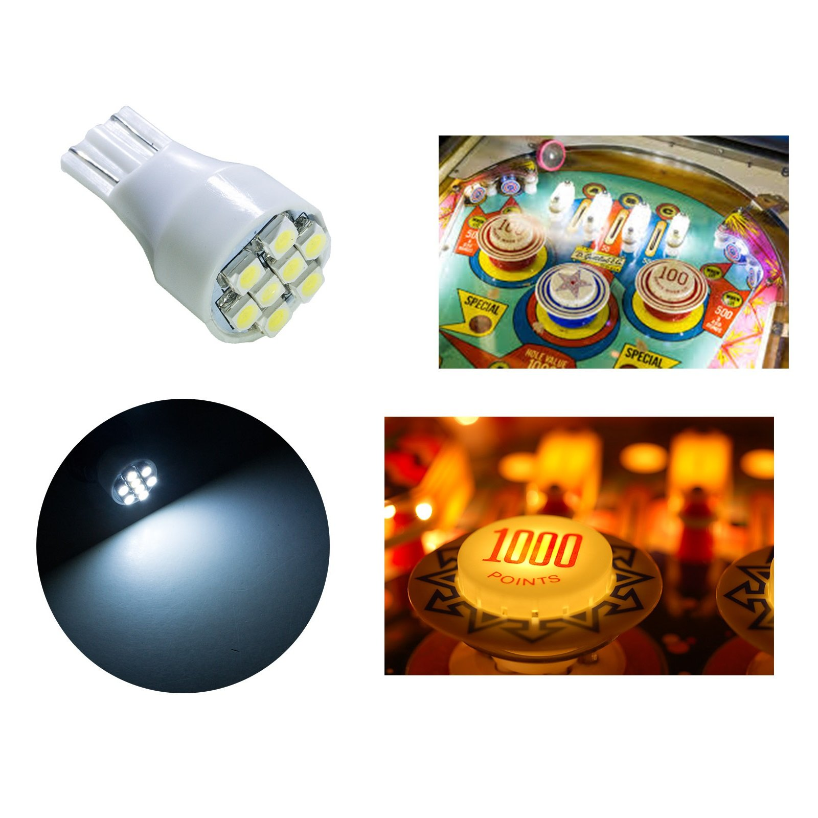 PA 4x T15 #906 921 912 Flasher 3528 SMD 8 flash LED Pinball Game Machine Light Bulb White-12V(4pcs)