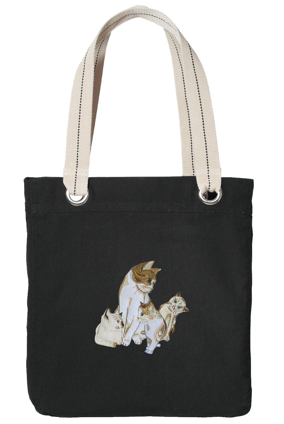 Cute Cat Tote Bag RICH COTTON CANVAS Kitten Bags Black