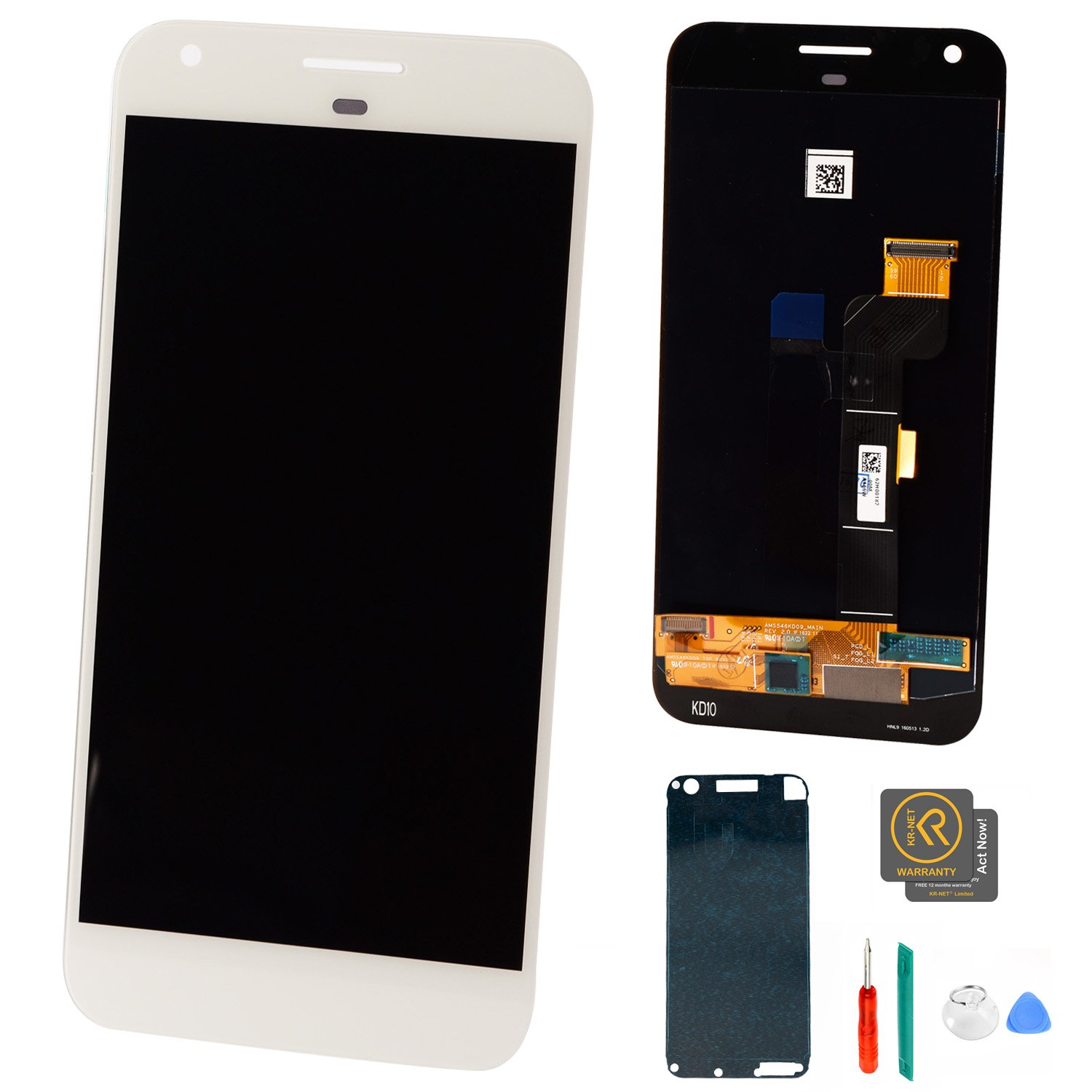 KR-NET 5.5'' LCD Display Touch Screen Digitizer Assembly for Google Pixel XL (Very Silver), with Tools
