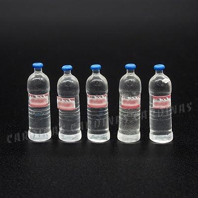 Odoria 1:12 Miniature 5PCS Mineral Water Bottles Dollhouse Kitchen Accessories: Toys & Games