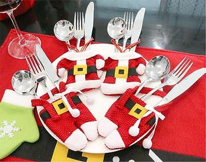 Hillento traje de plata cubiertos bolsillos, decoración de navidad paño / pantalones forma cuchillo tenedor