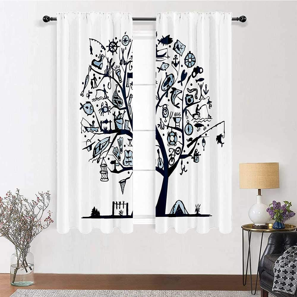 Blackout Curtain Fishing Decor Light Reducing Curtains Cute Tree of Life with Marine Objects Anchor Wind Rose Compass Reel Nature Classic Window Décor Light Blue 2 Rod Pocket Panels, 42